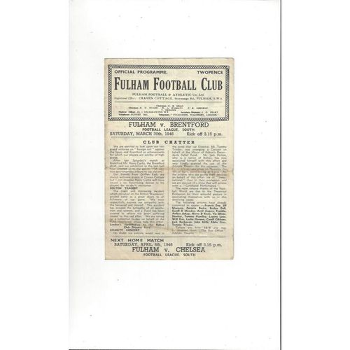 1945/46 Fulham v Brentford Football Programme