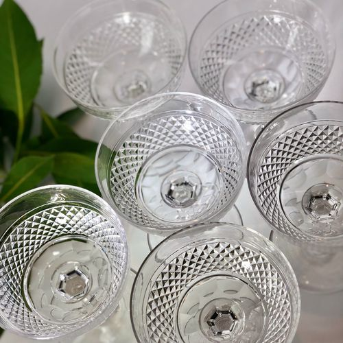 Six exquisite Victorian crystal champagne saucers