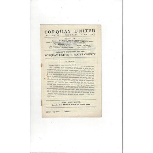 1949/50 Torquay United v Notts County Football Programme