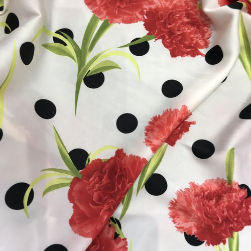 Polka Dot Carnation Cream Silky Satin Border Print
