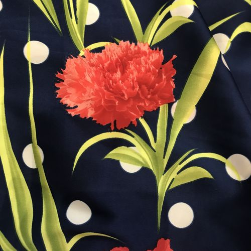 Polka Dot Carnation Blue Silky Satin Border Print