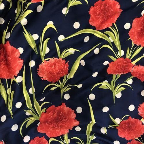 Polka Dot Carnation Blue Silky Satin Border Print