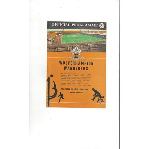 1960/61 Wolves v Aston Villa Football Programme