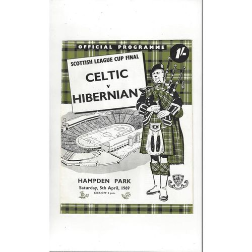1969 Celtic v Hibernian Scottish League Cup Final Football Programme