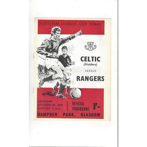 1970 Celtic v Rangers Scottish League Cup Final Football Programme