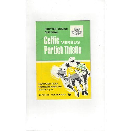 1971 Celtic v Partick Thistle Scottish League Cup Final Football Programme 1971