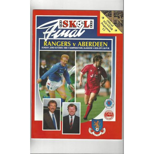 1989 Rangers v Aberdeen Scottish League Cup Final Football Programme