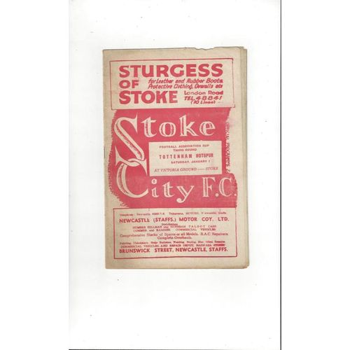 1949/50 Stoke City v Tottenham Hotspur FA Cup Football Programme