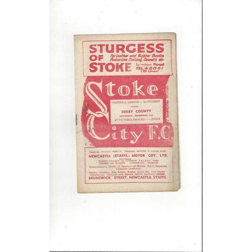 1949/50 Stoke City v Derby County Football Programme