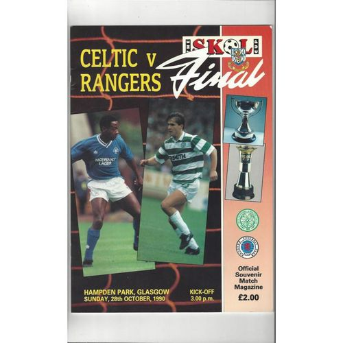1990 Celtic v Rangers Scottish League Cup Final Football Programme