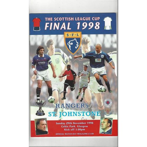 1998 Rangers v St Johnstone Scottish League Cup Final Football Programme