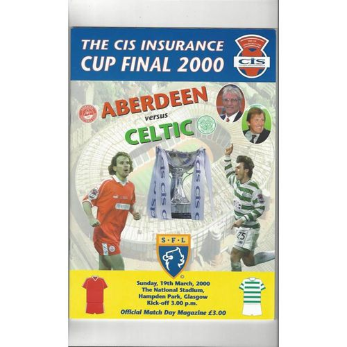 2000 Aberdeen v Celtic Scottish League Cup Final Football Programme