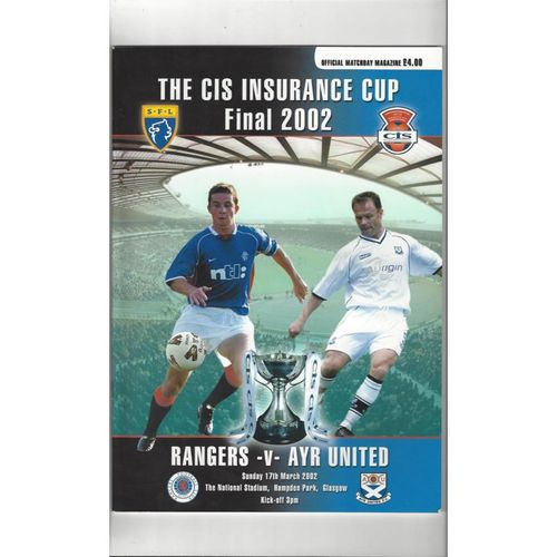 2002 Rangers v Ayr United Scottish League Cup Final Football Programme