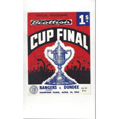 1964 Rangers v Dundee Scottish Cup Final Football Programme