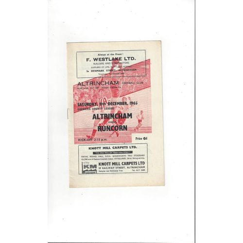 1965/66 Altrincham v Runcorn Football Programme