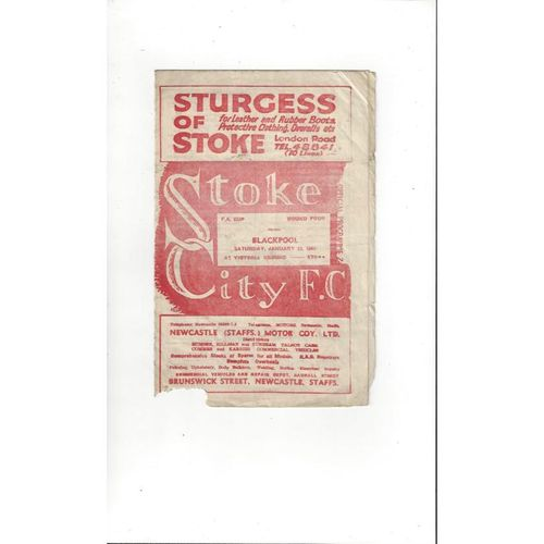 1948/49 Stoke City v Blackpool Football Programme
