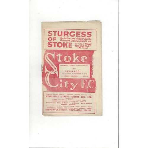 1948/49 Stoke City v Liverpool Football Programme