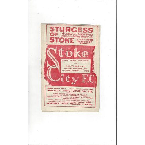 1948/49 Stoke City v Portsmouth Football Programme
