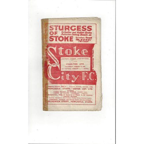 1948/49 Stoke City v Charlton Athletic Football Programme