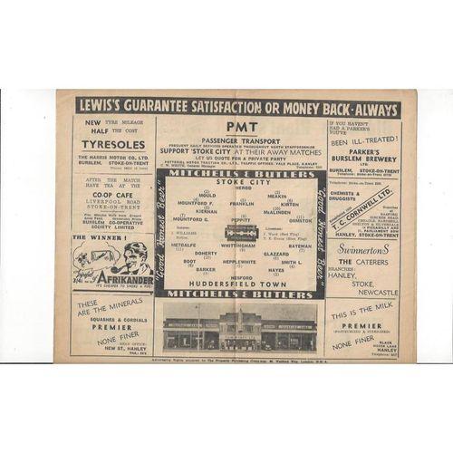 1947/48 Stoke City v Huddersfield Town Football Programme