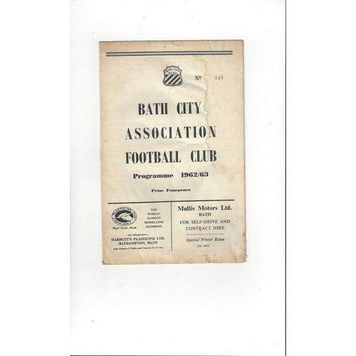 1962/63 Bath City v Dartford Football Programme