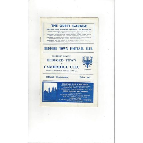 1968/69 Bedford Town v Cambridge United Football Programme