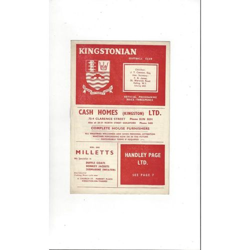 1957/58 Kingstonian v Erith & Belvedere Sporter Cup Football Programme