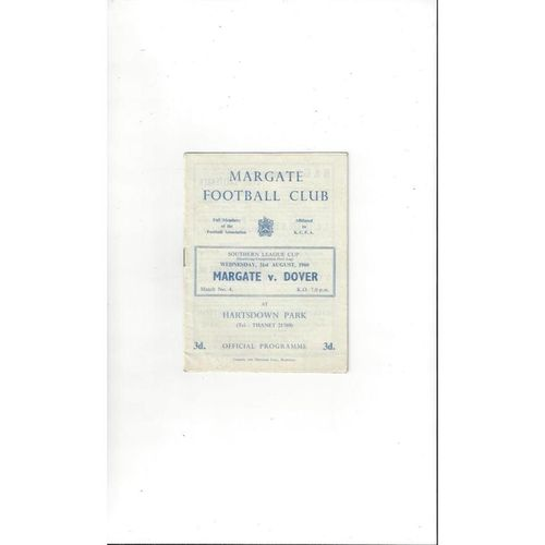 1960/61 Margate v Dover League Cup Football Programme
