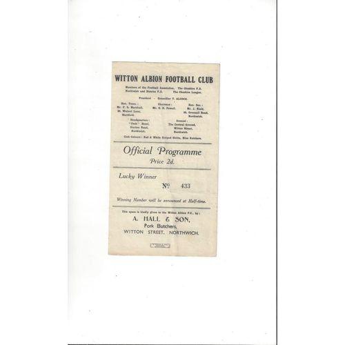 1947/48 Witton Albion v Congleton Town Football Programme