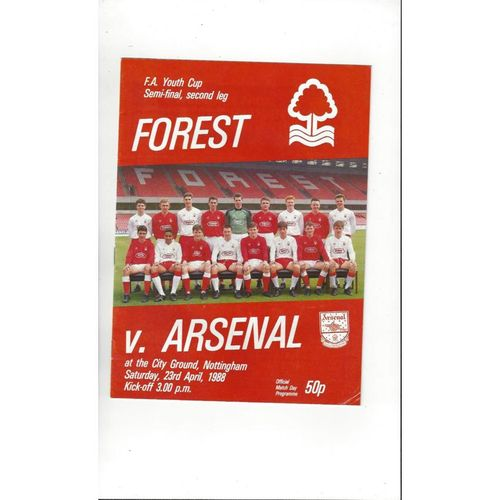 1987/88 Nottingham Forest v Arsenal Youth Cup Semi Final Football Programme