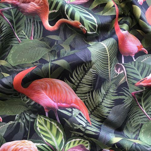Flamingo Foliage Cotton Canvas 1.35m Remnant