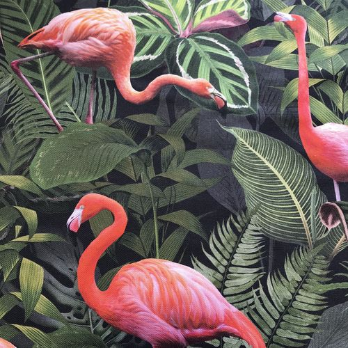 Flamingo Foliage Cotton Canvas 1.35m Remnant