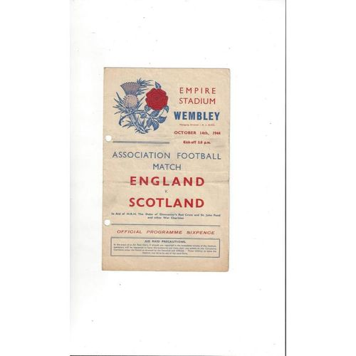 1944 England v Scotland Football Programme