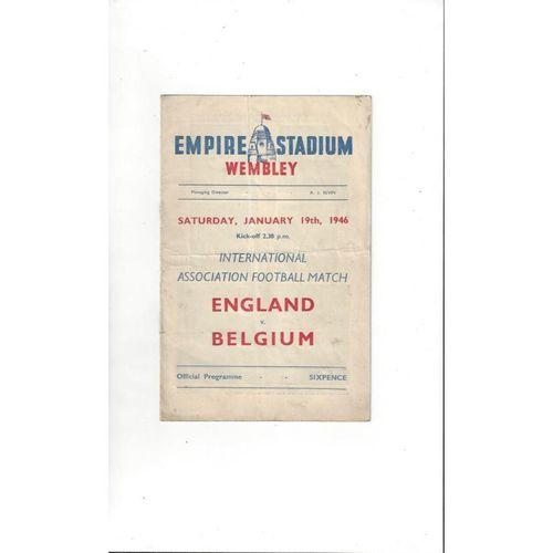 1946 England v Belgium Football Programme