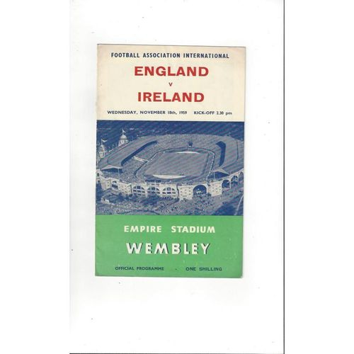 1959 England v Northern Ireland Football Programme