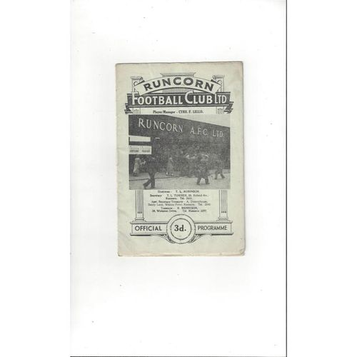 1959/60 Runcorn v Hyde United Football Programme