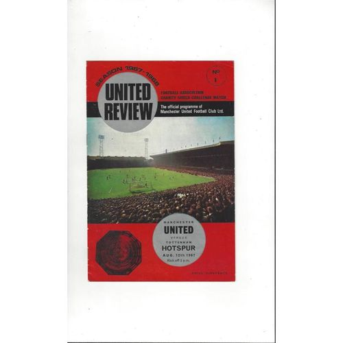 1967 Manchester United v Tottenham Hotspur Charity Shield Football Programme