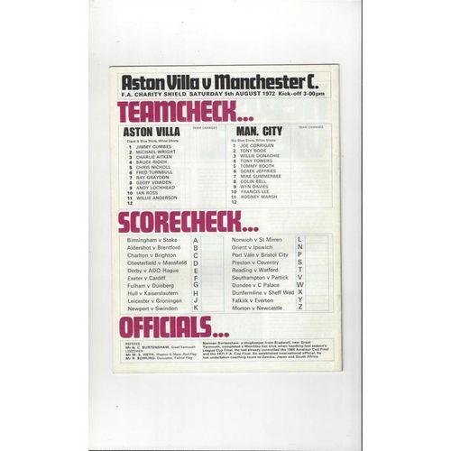 1972 Aston Villa v Manchester City Charity Shield Football Programme