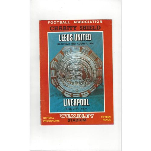 1974 Leeds United v Liverpool Charity Shield Football Programme