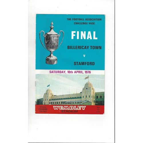 1976 Billericay Town v Stamford FA Vase Final Football Programme