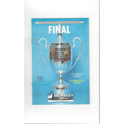 1987 St Helens Town v Warrington Town FA Vase Final Football Programme