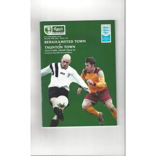 2001 Berkhamsted Town v Taunton Town FA Vase Final Football Programme