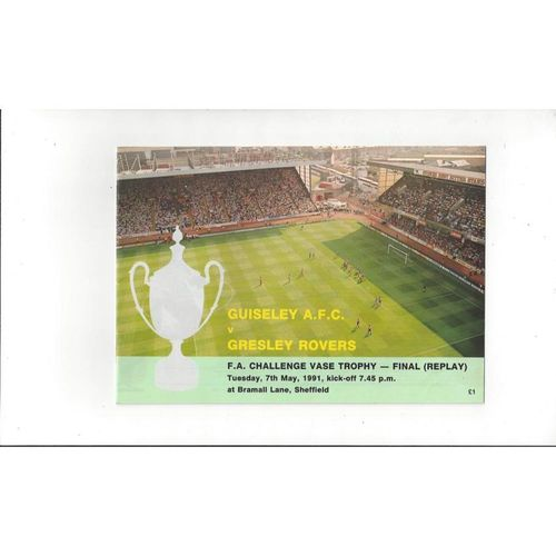 1991 Gresley Rovers v Guiseley FA Vase Final Replay Football Programme