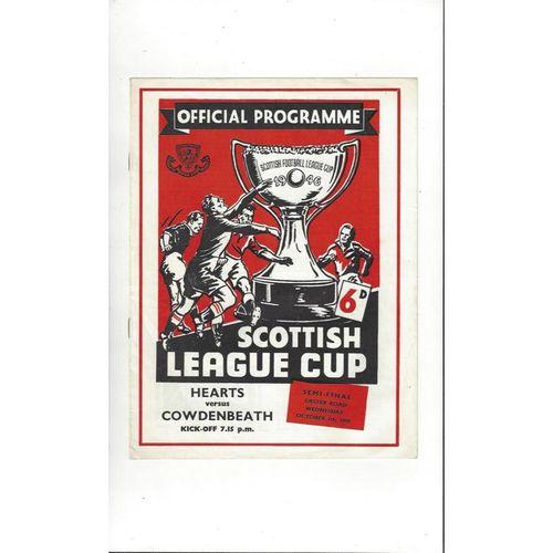 1959/60 Hearts v Cowdenbeath Scottish League Cup Semi Final Football Programme