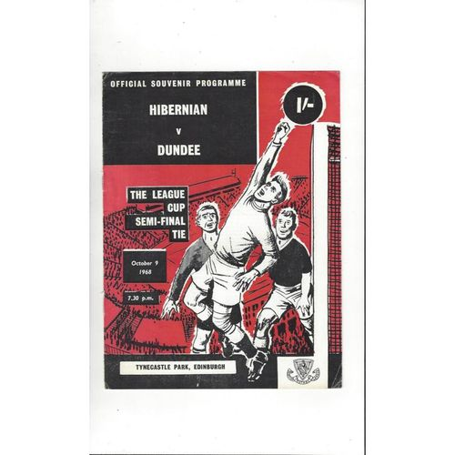1968/69 Hibernian v Dundee Scottish League Cup Semi Final Programme