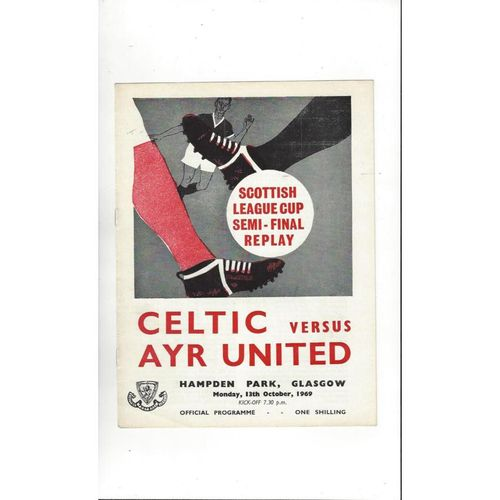 1969/70 Celtic v Ayr United Scottish League Cup Semi Final Replay Programme