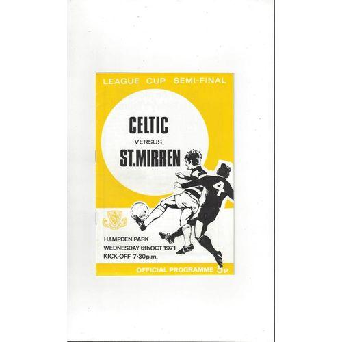 1971/72 Celtic v St Mirren Scottish League Cup Semi Final Football Programme