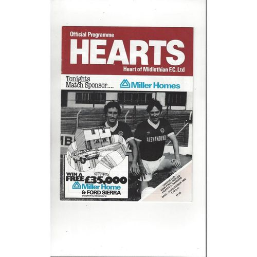 1982/83 Hearts v Rangers Scottish League Cup Semi Final Football Programme