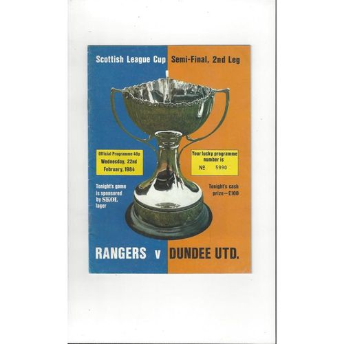 1983/84 Rangers v Dundee United Scottish League Cup Semi Final Programme