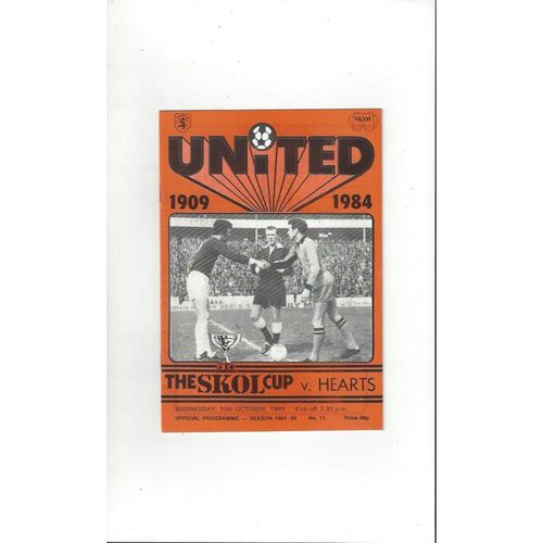 1984/85 Dundee United v Hearts Scottish League Cup Semi Final Programme